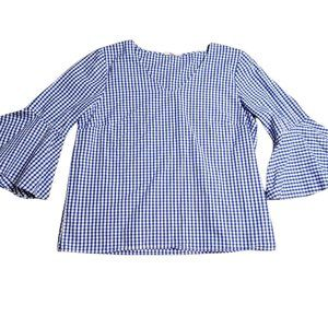 Women's - Jane and Delancey Blue Gingham Bell Sleeve Blouse, Size Medium